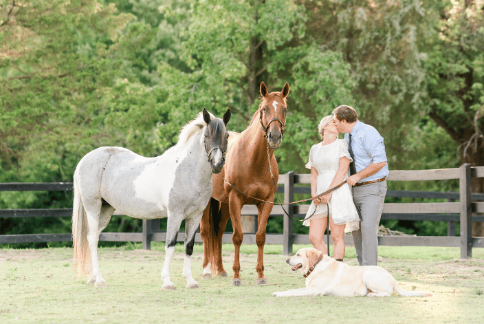 Couple with their horses and dog
